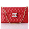 Fashion Chain Chanel folder leather Case Book Flip Holster Cover for iPhone 5S - Red