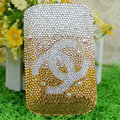 Luxury Bling Holster Covers Chanel Crystal diamond Cases for iPhone 5S - Gold