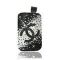 Luxury Bling Holster Covers Chanel diamond Crystal Cases for iPhone 5S - Black
