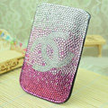 Luxury Bling Holster Covers Chanel diamond Crystal Cases for iPhone 5S - Pink