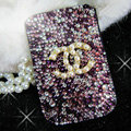 Luxury Bling Holster Covers Chanel diamond Crystal Cases for iPhone 5S - Purple