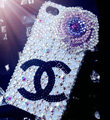 Swarovski Bling crystal Cases Chanel Flower Luxury diamond covers for iPhone 5S - White