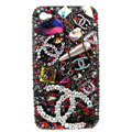Swarovski Bling crystal cases Chanel Luxury diamond covers for iPhone 5S - Red