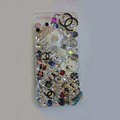 Swarovski crystal cases Bling Chanel Beetle diamond cover for iPhone 5S - White