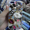 Swarovski crystal cases Bling Chanel Bow diamond cover for iPhone 5S - White