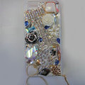 Swarovski crystal cases Bling Chanel Flower diamond cover for iPhone 5S - White