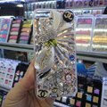 Swarovski crystal cases Bling Chanel Flower diamond covers for iPhone 5S - White