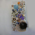 Swarovski crystal cases Bling Chanel Heart diamond covers for iPhone 5S - White