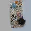 Swarovski crystal cases Bling Chanel Heart diamonds cover for iPhone 5S - White