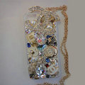 Swarovski crystal cases Bling Chanel diamond covers for iPhone 5S - White