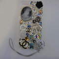 Swarovski crystal cases Bling Flower Chanel diamond cover for iPhone 5S - White