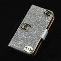Three chanel bling folder holster cover book flip leather case for iPhone 5S - White+Black