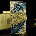 Chanel bling crystal book leather Case flip Holster Cover for Samsung GALAXY NoteIII 3 - Blue+White