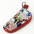 Chanel Crystal Auto Key Bag Bowknot Genuine Leather Car Key Case Pocket Key Chain - Red