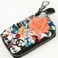 Chanel Crystal Auto Key Bag Flower Genuine Leather Car Key Case Pocket Key Chain - Black