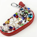 Chanel Crystal Auto Key Bag Flower Genuine Leather Car Key Case Pocket Key Chain - Red