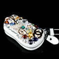 Chanel Crystal Auto Key Bag Genuine Leather Ballet girl Car Key Case Pocket Key Chain - White