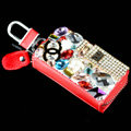 Chanel Crystal Auto Key Bag Parfum bottle Genuine Leather Car Key Case Pocket Key Chain - Red