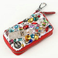 Chanel Crystal Auto Key Bag Perfume bottle Genuine Leather Car Key Case Pocket Key Chain - Red