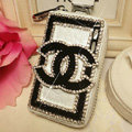 Chanel Crystal Auto Key Bag Pocket Genuine Leather Car Key Case Key Chain - Black white