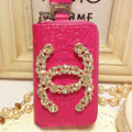 Chanel Crystal Auto Key Bag Pocket Genuine Leather Car Key Case Key Chain - Pink