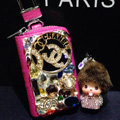 Chanel Crystal Auto Key Bag Pocket Genuine Leather Car Key Case Monchhichi Key Chain - Rose