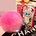 Chanel Crystal Auto Key Bag Pocket Genuine Leather Car Key Cases rose Fur ball Key Chain - Red