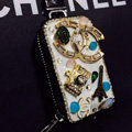 Chanel Crystal Auto Key Bag Pylon Genuine Leather Car Key Case Pocket Key Chain - White