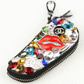 Chanel Crystal Auto Key Bag Red lips Genuine Leather Car Key Case Pocket Key Chain - Black
