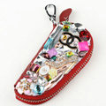Chanel Crystal Auto Key Bag Shoes Genuine Leather Car Key Case Pocket Key Chain - Red