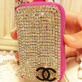 Chanel Crystal cupchain Auto Key Bag Pocket Genuine Leather Car Key Case Key Chain - Rose