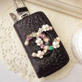 Chanel Crystal pearl Auto Key Bag Pocket Genuine Leather Car Key Case Key Chain - Black