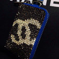 Chanel Full Crystal Auto Key Bag Pocket Genuine Leather Car Key Cases Key Chain - Blue