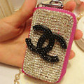 Chanel full Crystal Auto Key Bag Pocket Genuine Leather Car Key Case Key Chain - Rose