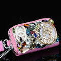 Double Chanel Crystal Auto Key Bag Genuine Leather Car Key Case Pocket Key Chain - Pink