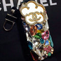 Mirror Chanel Crystal Auto Key Bag Genuine Leather Car Key Case Pocket Key Chain - Black