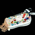 Pearl Chanel Crystal Auto Key Bag Genuine Leather Car Key Case Pocket Key Chain - White