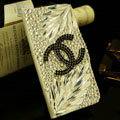 Black Chanel bling crystal book leather Case flip Holster Cover for Samsung Galaxy S5 i9600 - White