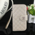 Chanel folder leather Case Book Flip Holster Cover for Samsung Galaxy S5 i9600 - Beige