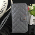 Chanel folder leather Case Book Flip Holster Cover for Samsung Galaxy S5 i9600 - Gray