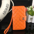 Chanel folder leather Case Book Flip Holster Cover for Samsung Galaxy S5 i9600 - Orange