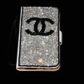 Luxury bling holster cover chanel diamond leather case for Samsung Galaxy S5 i9600 - White+Black