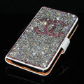 Luxury bling holster cover chanel diamond leather case for Samsung Galaxy S5 i9600 - White+Pink