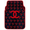 Classic Automobile Chanel Universal Automotive Carpet Car Floor Mats Sets Rubber 5pcs Sets - Red