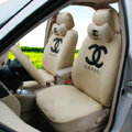 Fashion Oulilai Chanel Universal Automobile Car Seat Cover Sandwich 18pcs Sets - Beige