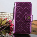 Female Mirror Chanel folder leather Case Book Flip Holster Cover for Samsung Galaxy S5 i9600 - Purple
