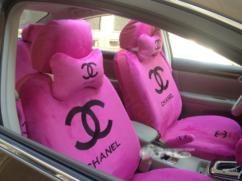 buy wholesale funky chanel universal plush velvet auto car seat cover 18pcs sets pink from. Black Bedroom Furniture Sets. Home Design Ideas