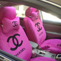 Funky Chanel Universal Plush Velvet Auto Car Seat Cover 18pcs Sets - Pink