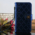 Funky Mirror Chanel folder leather Case Book Flip Holster Cover for Samsung Galaxy S5 i9600 - Blue
