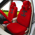 High Quality Oulilai Chanel Universal Automobile Car Seat Cover Sandwich 18pcs Sets - Red